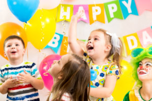 children celebrating birthday